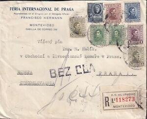 1935 Uruguay: Commercial Reg cover, multi mixed 8 stamps, MONTEVIDEO to ČSR