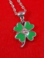 Four Leaf Clover Hearts Enamel Pendant Necklace Stylish Fashion Lucky Charm HOT