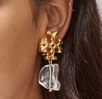 Tory Burch Vintage Gold Clip On Logo Drop Earrings