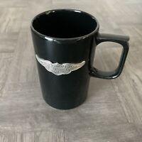 Harley Davidson Pewter Winged Logo Coffee Mug Black Ceramic Wings Hallmark 16 oz