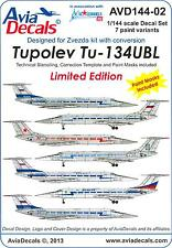 Avia Decals 1/144 TUPOLEV Tu-134 UBL Airliner in Military Service