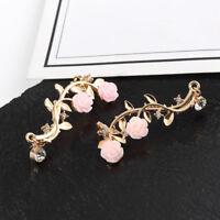 Women Rose Flower Rhinestone Climber Crawler Earrings Ear Jewelry USA