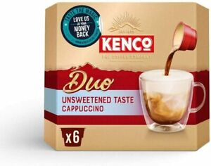 Kenco Duo Cappuccino Unsweetened Instant Coffee (Pack of 4, Total 24 Sachets)