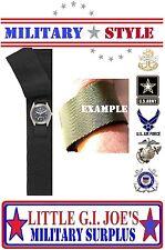 Black Hook & Loop Covered Watch Band Military Nylon Commando Watch Band 4101