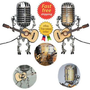 Retro Style Microphone Robot Lamp Holding Guitare Vintage Hot Sale