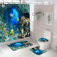 Dolphin Bathroom Rug Set Shower Curtain Thick Non Slip Toilet Lid Cover Bath Mat