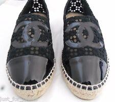 CHANEL spring Lace mesh & black Patent leather CC Cap toe Espadrilles 39 NIB