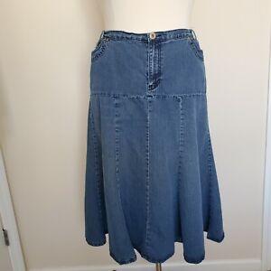 Liz & Me Plus Size 18W Blue Jean Skirt Long Modest Pockets Cotton Blend No Slits