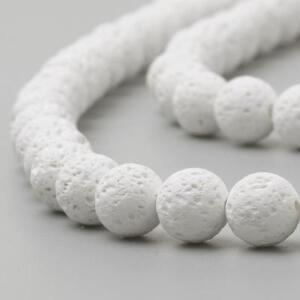 Strand 47+ 8mm Natural Lava Rock White Plain Round Beads UK
