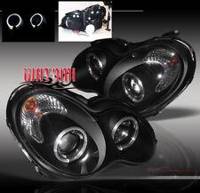 01-05 MERCEDES-BENZ W203 C230 C240 C320 HALO PROJECTOR HEADLIGHTS LAMPS BLACK