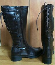 Women's sz 7 Shoes Of Soul mahogany brown Lace Up Vintage Knee High Boots SOS