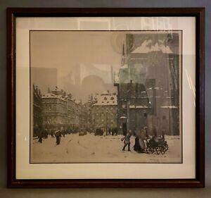 TAVIK FRANTISEK SIMON framed etching Paris Winter Scene - Hudson's Detroit Tag