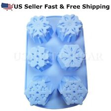 6-Cavity Snowflake Shaped Christmas DIY HANDMADE SOAP CANDLE MOLD US Seller