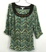 Dressbarn Women's XL 3/4 Sleeve Beaded Crew Neck Casual Green Rayon Blouse Top