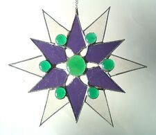 New Purple green Star stained glass suncatcher home window decor