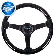 "NEW NRG 3""DEEP Steering Wheel 350mm Black Sparkle Wood Black Spokes ST-036BSB-BK"