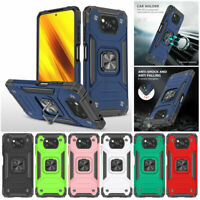 For Xiaomi Poco X3 NFC M3 F2 Pro Armor Shockproof Ring Holder Rugged Case Cover