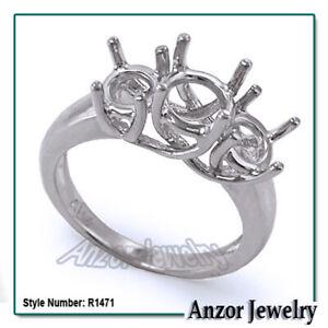 Three Stone Trellis Engagement Ring Setting in 10k gold #R1471
