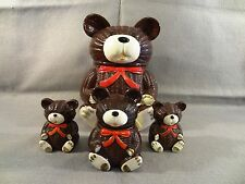 Vintage 1979 OTAGIRI Ceramic TEDDY BEAR COOKIE JAR Salt Pepper Shakers HONEY JAR