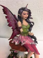 Amy Brown Mystical Magenta Fairy w Faery Frog Collection Statue Figurine Friend