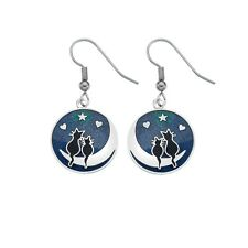 Silver Plated and Enamel Love Cats on Moon Drop Ear wire Earrings (2666)