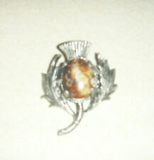 and Stone Brooch Small Thistle Metal
