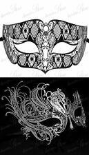 His & Her Silver Wedding Masquerade Masks, Black Filigree Mask For Men