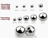 10pcs. 20g, 18g, 16g, 14g 316L Steel Threaded Ball Replacement Body Jewelry Pats