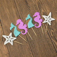 24PCS Mermaid Starfish Ocean Cupcake Toppers Cute Cake Decor Kid Birthday Party