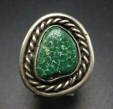 Classic Vintage NAVAJO Sterling Silver & Deep Green TURQUOISE RING, size 6.25