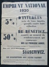Affiche originale 1920 EMPRUNT NATIONAL SOUSCRIVEZ WW1