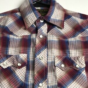 Rustler Boy's Long Sleeve Button Up Western Shirt Small S Plaid Pockets Snaps