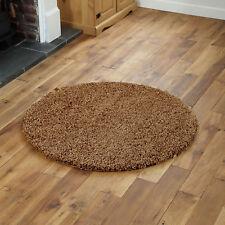 Large Modern Thick 5cm High Pile Plain Beige Shaggy Circle Round Rug 133 X 133cm