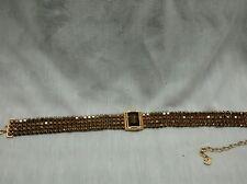 Pretty vintage signed swan swarovski smokey crystal choker necklace