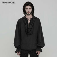 Punk Rave Steampunk Gothic Black Fashion victorian Mens T Shirt Top clothing