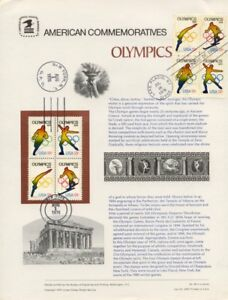#68 13c Olympics #1695-1698 Commemorative Panel w/2 BLKs FDC & Aug 1  NYC Cancel