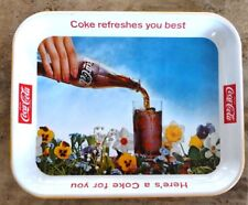 1961 Drink Coca Cola Pansy Tray, Never Used. Coke Refreshes You Best.