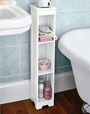 Bathroom Tall Storage Shelving Unit Bobs Toilet Roll White Wooden Holder Tallboy
