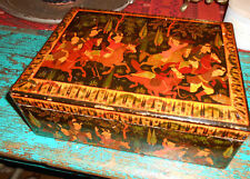 Antique (Circ 1900) Paper Mache and Wood Moghal Hand Painted Box From Kashmirl