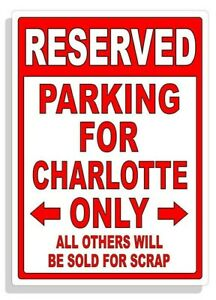 Personalized Parking Sign Wall Decal Metal Sign No Parking Customized CHARLOTTE