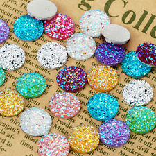 100 Round Litter Resin Cabochons Druzy Studs Mermaid Deco Jewelry Findings 12mm
