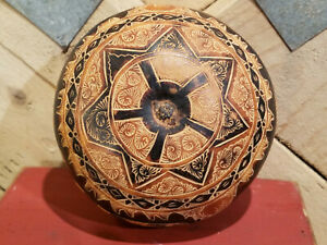 Vintage Bolivian Folk Art Carved Round Gourd Painted Rattle - Swanky Barn