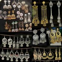 Women Bohemian Carved Tassel Bell Drop Dangle Gypsy Indian Jhumka Ethnic Earring