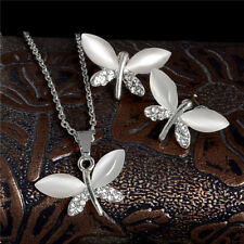 Dragonfly Cute Earrings+Necklace Gold Austrian Crystal Rhinestone Jewelry Set