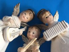 Set 3 Vintage White Musician Angels Orchestra National Potteries Christmas Cute!