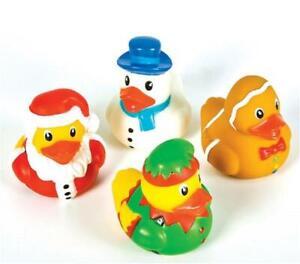 12 Christmas Holiday Rubber Duckies - Dozen Santa Snowman Cake Topper Decor Duck