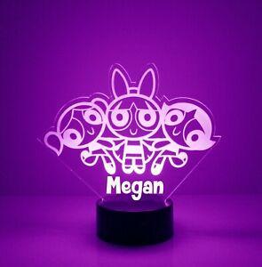 Powerpuff Girls Room Light Up, Personalized FREE, LED Night Light Lamp + Remote