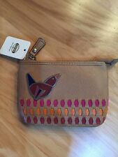 Fossil Maddox Lg Leather Coin Bird Wallet Coin Purse Tan Brown NEW