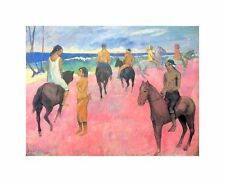 Paul Gauguin Riding On Beach Old Master Art Painting Poster Print