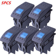 5Pcs Car Boat 4Pin Waterproof 12V 20A Bar Rocker Toggle Switch LED Light Black